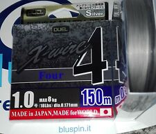 DUEL X-WIRE4 FOUR ULTRA PE LINE 150m 1.0  18LB COLOR: SILVER MADE IN JAPAN