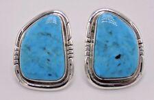 In Sterling Silver- Elaine Becentie Handmade Kingman Turquoise Earrings Set