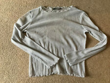 BRANDY MELVILLE SHEER SPARKLY SILVER LONG SLEEVED TOP - ONE SIZE (SUIT 8-10)