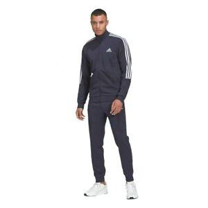 Tuta Adidas M 3S FT TT TS Uomo in Cotone Blu Slim Fit Allenamento Camminata