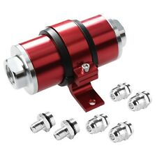 AN6/AN8/AN10 RED 30 MICRON BILLET ALUMINUM INLINE FUEL/PETROL FILTER+BRACKET