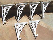 SIX Small Cast Iron Wall shelf Brackets, Teeny Tiny white braces