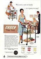 1955 ORIGINAL VINTAGE COSCO TRAY CART MAGAZINE AD