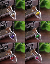 12 PACK OF Real Dried Flower Clear Mini Glass Bottle Vial Cork Necklaces ladies