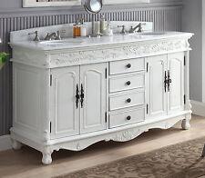"63"" Decorative Double Sink Florence Bathroom vanity Model HF-036XLW-AW"