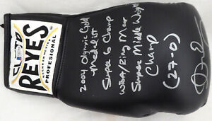 ANDRE WARD AUTOGRAPHED BLACK REYES BOXING GLOVE WITH STATS LH BECKETT 182283