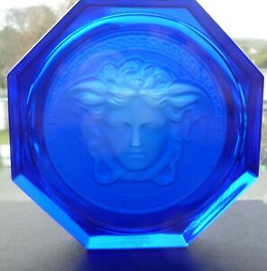 Rosenthal Versace Glass Coaster in Blue Brand New 100% Authentic Versace Medusa