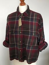 Womens Reworked Ralph Lauren Shirt Size 12/14 Crop Top -Red Check Grunge Retro