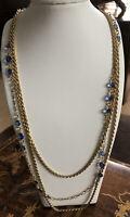 Vintage 1980s Multiple Drop Gold Tone Blue Bezel Set Glass Stones Necklace