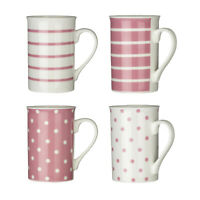 Pink Coffee Mugs Set Of 4 Tea Cups Hot Cold Drinks Spots Stripes Porcelain New
