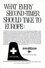 Vintage print ad 1959 Swisscare Swissair airlines What Every Second Timer Take