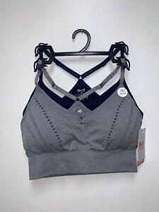 Padded 2 Pack Medium Impact Seamless Sports Bra Active Wear Work Out Gym (Medium