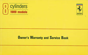 1989 FERRARI 348 TB V8 WARRANTY CARD OWNER'S SEVICE BOOK USA BLANCO 565/89