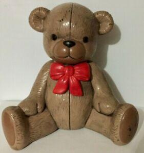 "Vintage Teddy Bear Red Bow Ribbon Handmade Ceramic Piggy Bank 10"" Figure 1992"