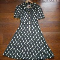 """Orla Kiely """"Cute as a Fox"""" tea dress in olive, UK8"""