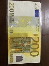 200 euro banknote 2002 Series. 200 Euros Bill In Good Circulated Condition.