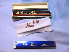 "Vintage Hero M1009 48-Hole tremolo Blue 7"" Wood Frame Harmonica Original Box"