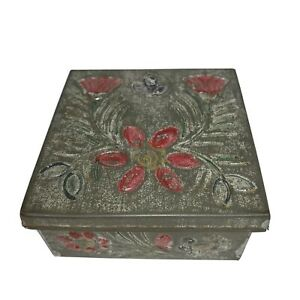 Tole Painted Tin Lidded Embossed 3.25 Square Primitive Hinged Lid Antique