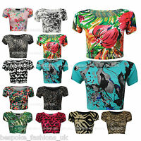 Womens Print Short Sleeve Stretch Ladies Cropped Top T-Shirt Vest Tee 8-14