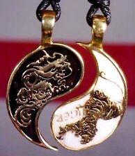 Dragon Ying Yang Gold Color Brass Charm Necklace Pendant Jewelry #332
