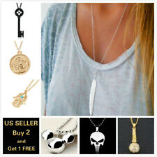 Women Long Chain Pendant Crystal Choker Gold Silver Sweater Necklace Jewelry