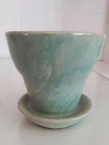 """Brush McCoy Vtg Soft Green Planter Flower Pot w Saucer Leaf Pattern USA 3.5"""" 316"""