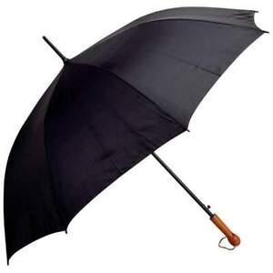 "Wholesale Lot of 12pc All-Weather Wood Handle Black Auto Open Golf Umbrella 60"""