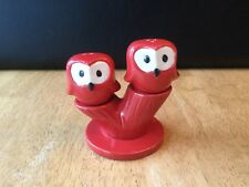 Owl Salt and Pepper Shakers with Tree Base Red