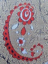 New listing 1 Yard Vtg 70s Floral Paisley Mod Bold Red Flower Hippie Polyester Knit Fabric