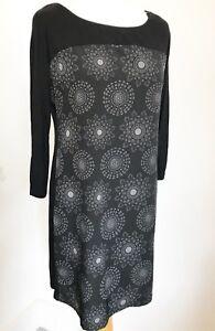 Women's LAURA ASHLEY Black Grey Mandala Print Silky front Tunic dress 12. Autumn