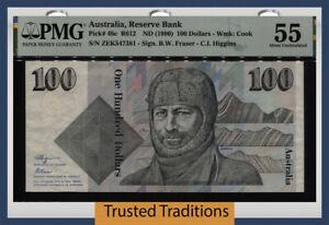 TT PK 48c 1990 AUSTRALIA RESERVE BANK 100 DOLLARS PMG 55 ABOUT UNCIRCULATED!