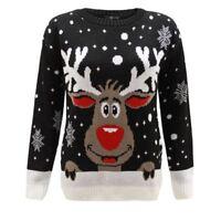 Men Ladies Women Knitted Reindeer Rudolph Xmas Christmas Jumper Sweater 20 22