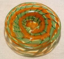 "JL MADE IN MURANO ITALY LG 16"" DISH BOWL HANDBLOWN BASKET ORANGE GREEN MID CENT"
