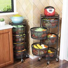 4/5 Tiers Round Rotatable Baskets Kitchen Storage Rack Organizer Cart w/ Casters