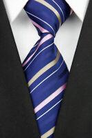 Tie Necktie Blue Tan Pink Striped Classic 100% Silk Jacquard Men's Ties Neckties