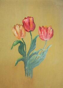 Vintage oil painting still life tulips flowers