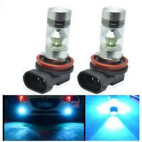2x H11 H8 100W LED 8000K ICE BLUE 2323 Projector Fog Driving Light Bulbs