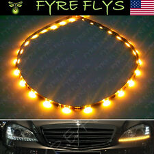 "YELLOW 24"" LED SIDE SHINE TURN SIGNAL MIRROR LIGHT STRIP DRL HEADLIGHT STRIPS B9"