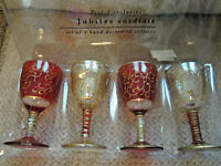 "NIB Pier 1 Imports Jubilee Cordials goblets mouth blown hand decorated 4"" tall"
