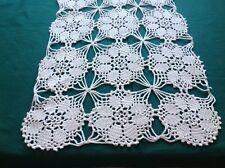 """Lovely Vintage Ivory Cotton Crochet Runner 78"""" X 13"""" #34"""