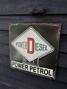 Power Petrol Enamel Sign Power Diesel enamel sign power pump sign patent enamel