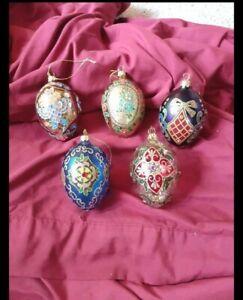 "Joan Rivers Set of 5 Russian Faberge Egg Christmas Ornaments - 4"" x 2-1/2"""