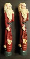 """Pair of Pencil Santa Candlestick holders, 11"""" tall. Pre-owned - displayed only"""