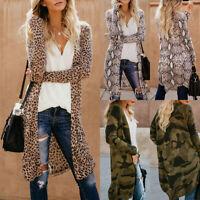 Women's Leopard Camo Kimono Cardigan Ladies Open Front Long Sleeve Long Jacket