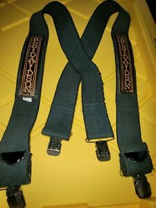 """Vintage Harley Davidson Motorcycles Black Elastic Leather Orange 2"""" Suspenders"""