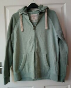 Fat Face Zip-up Hoodie Jumper Size 10 Light Green with darker green sleeves
