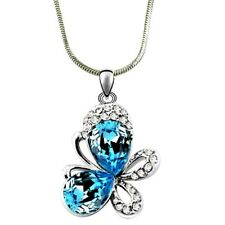 Small Adorable Blue Crystal Butterfly Pendant Necklace with a Gift Box
