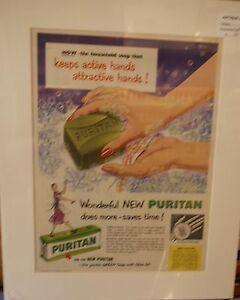 Original Vintage c1950's Matted Advert Puritan green soap Olive Oil