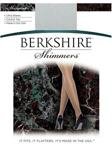 Berkshire Shimmers Ultra Sheer Control Top Silver Pantyhose Size 2