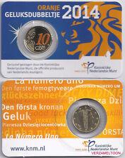 NEDERLAND: GELUKSDUBBELTJE 10 CENT 2014 IN KLEUR,  IN COINCARD